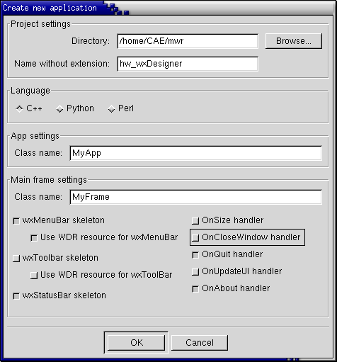 wxDesigner Screenshot: Project Wizard