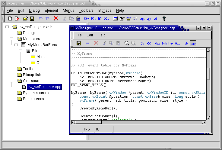 wxDesigner Screenshot: Program Code