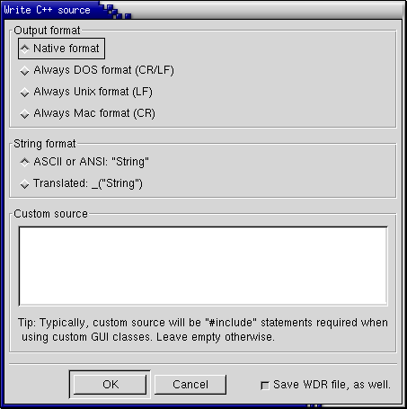 wxDesigner Screenshot: Write Code Dialog